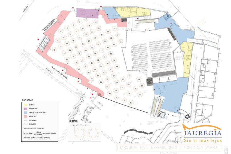 plano HALL II con 2 salas